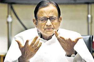 P Chidambaram during an interaction with senior editors at Hindustan times house in New Delhi.