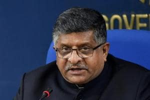 Union minister Ravi Shankar Prasad briefs the media after a cabinet meeting in New Delhi.