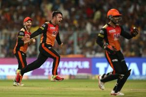Rashid Khan celebrates the wicket of Andre Russell during the 2018 Indian Premier League Qualifier 2 match between Sunrisers Hyderabad and Kolkata Knight Riders at the Eden Gardens. Follow full cricket score of Sunrisers Hyderabad vs Kolkata Knight Riders, IPL 2018, Qualifier 2 here