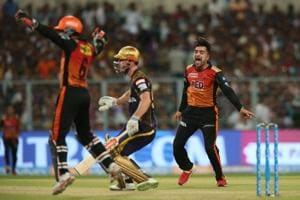 Rashid Khan took vital wickets to put Sunrisers Hyderabad on top against Kolkata Knight Riders in the second IPL 2018 Qualifier at the Eden Gardens. Follow live cricket score of Sunrisers Hyderabad vs Kolkata Knight Riders, IPL 2018, Qualifier 2 at Eden Gardens here