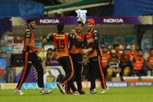 Rashid Khan celebrates the wicket of Robin Uthappa during the 2018 Indian Premier League (IPL) Qualifier 2 match between Sunrisers Hyderabad and Kolkata Knight Riders at the Eden Gardens.