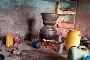 Liquor being manufactured at a shack on the banks of the Sutlej in Shahkot constituency.
