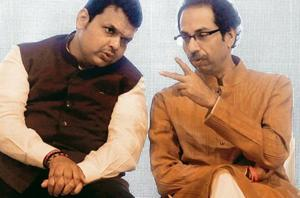 The latest irritant in the BJP-Shiv Sena alliance is an audio clip, in which CM Devendra Fadnavis (left)is heard exhorting party workers to 'use all means' to win the bypoll.