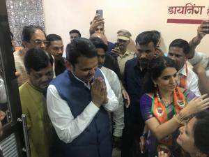 Shaina NC with CM Devendra Fadnavis during poll campaign in Palghar.
