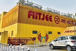A general view of IIT Metro station displaying the name of Fiitkee in New Delhi, India, on May 26.