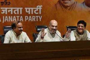 Bharatiya Janata Party president Amit Shah addresses a press conference as party leaders Anant Kumar (left) and Piyush Goel (right) look on, at party headquarters at Deen Dayal Upadhyay Marg, in New Delhi on May 21.