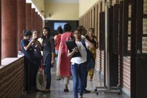 Students arrive for admission at the Miranda House college of  Delhi University.