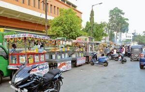 Dombivli residents enjoy the street food popped up near Pendharkar college at Dombivli east in Kalyan.