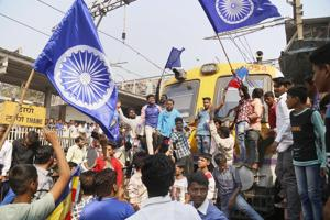 Dalit groups protesting at the Thane railway station during the Maharashtra Bandh after clashes erupted between in Bhima Koregaon near Pune, in Mumbai in January 2018.