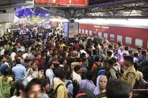 Passengers crowd the New Delhi Station during Chhath Puja in October 2017. In its bid to modernise the railways, the NDA sanctioned the high-speed corridor between Mumbai and Ahmedabad, or the bullet train project, which is expected to finish by 2022.