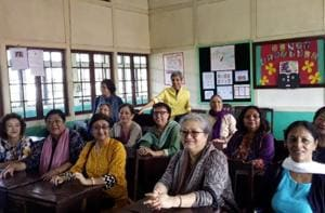 The writer and her batch mates in 'class' while revisiting Loreto Convent, Shillong.