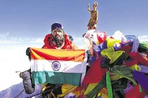 Bhagwan Chawale poses for a picture after conquering Mount Everest on May 17.