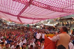 Chief minister TS Rawat addresses a public meeting during his campaign for Tharali  by-election in Uttarakhand.