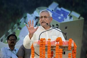 Bihar Chief Minister Nitish Kumar speaks at a function in Delhi.