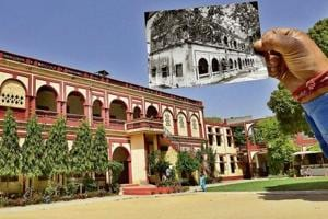 A view of Ewing Christian Senior Secondary School near Christian Medical College and Hospital in Ludhiana; and a student shows a picture of the old building of the school.