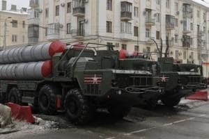 S-400 missile air defence systems drive during the military parade in Volgograd, Russia.
