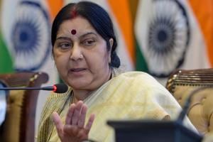 External affairs minister Sushma Swaraj speaks during the ministry