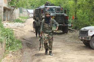 Army soldiers near the site of an encounter in southern Kashmir's Shopian.
