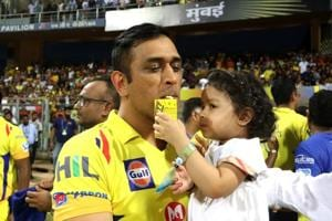 Captain of the Chennai Super Kings with his daughter Ziva after the final of the Vivo Indian Premier League 2018,  Mumbai, May 27, 2018
