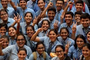 Students celebrates CBSE 10th board results at Apeejay School Nerul in Navi Mumbai