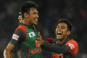 Bangladesh cricketer Mustafizur Rahman (L) complained of pain after joining the Bangladesh national training camp last week and is now expected to start rehabilitation in two weeks for a crack on his big left toe.