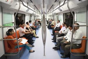 Passengers travel in the Magenta Line Metro after the Kalkaji Mandir-Janakpuri West stretch was thrown open to public on Tuesday.