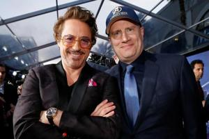 Actor Robert Downey Jr. (L) and Kevin Feige, President of Marvel Studios at the premiere of Avengers: Infinity War.