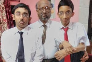 (Left to Right) Chaitanya Bhatnagar, Sumeet Bhatnagar and Ashmeet Bhatnagar. Ashmeet Bhatnagar can either stand or lie down because of stiff joints. He has myositis ossificans in which calcification occur at sites of skeletal injuries.