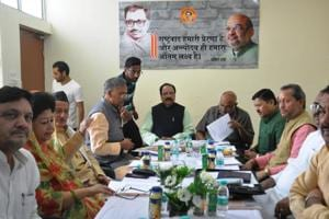 BJP leaders Avinash Rai Khanna and Shyam Jaju at a core committee meeting in Dehradun to prepare plan for the upcoming local body elections in the state .