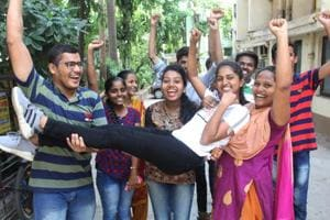 HSC students celebrate after  HSC exam results were declared.