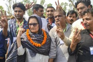 Rashtriya Lok Dal candidate Tabassum Hasan with her supporters after winning Kairana Lok Sabha by-elections.