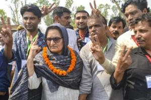 Rashtriya Lok Dal candidate Tabassum Hasan with her supporters outside a counting centre after winning the Kairana Lok Sabha by-elections, in Kairana on Thursday.