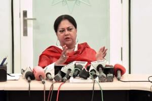 CM Vasundhara Raje interacts with media persons at her residence in civil lines in Jaipur.