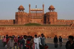 A view of the Red Fort in New Delhi .