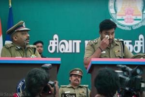 Thamizh Padam 2 teaser: Siva while he takes charge as a cop in the film.