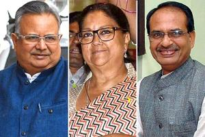 Combination image of Raman Singh, Vasundhara Raje and Shivraj Singh Chouhan.