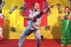 Sanjeev Shrivastava dances at a wedding in Gwalior on May 12. A stranger recorded Shrivastava's moves, making him an internet sensation.