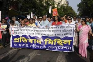 Agroup of activists take out a protest rally demanding withdrawal of UAPA Arms Act, release of four activists, and against alleged violence by ruling party Trinamool Congress on villagers of Anti-Power Grid movement of Bhangar at Esplanade in Kolkata.
