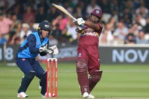 Evin Lewis was the top scorer for West Indies during their T20 encounter against ICC World XI at Lord's on Friday.
