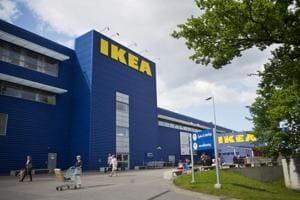 The Ikea logo sits on a store in Stockholm, Sweden.