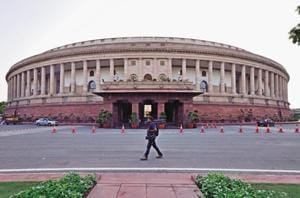A view of the Parliament House of India at Sansad Marg in New Delhi.