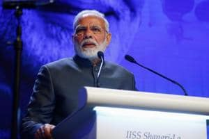Prime Minister Narendra Modi delivers the keynote address at the IISS Shangri-la Dialogue in Singapore June 1, 2018.