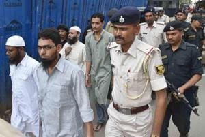 The convicted Indian Mujahideen militants being produced in a Patna court in the Bodh Gaya serial blasts case on May 31, 2018.