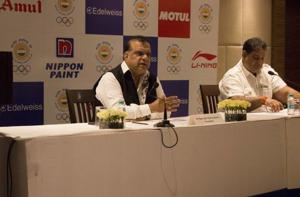 Narinder Batra (L), the President of the Indian Olympic Association, said they are planning to host the 2030 Asian and 2032 Olympic Games.