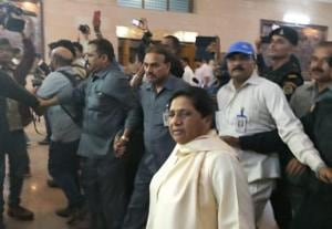 BSPSupremo Mayawati inside her bungalow on Mall Avenue inLucknow.