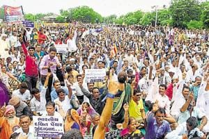 People protest the Una incident where four Dalits were flogged by self-styled cow vigilantes in Gujarat in 2016.