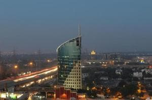 The skyline view of Cyber City, Cyber Hub and Gateway tower building, in Gurgaon, India.