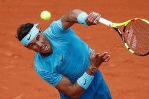 Rafael Nadal in action during his third round match against France