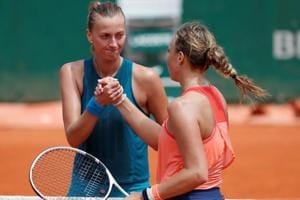 Petra Kvitova shakes hands with Estonia