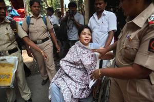 File photo of former INX media chief Indrani Mukherjee after being discharged from the JJ Hospital in Mumbai on April 11.